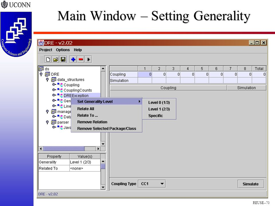 REUSE--70 Main Window – Setting Generality