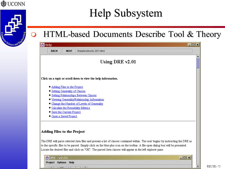 REUSE--73 Help Subsystem  HTML-based Documents Describe Tool & Theory