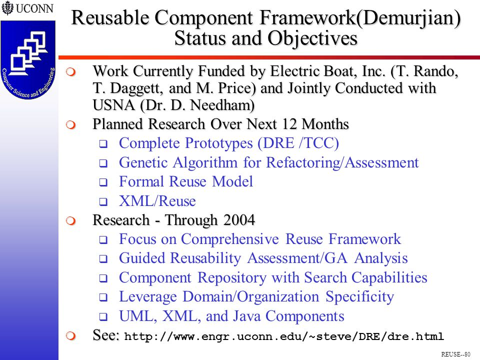 REUSE--80 Reusable Component Framework(Demurjian) Status and Objectives  Work Currently Funded by Electric Boat, Inc.