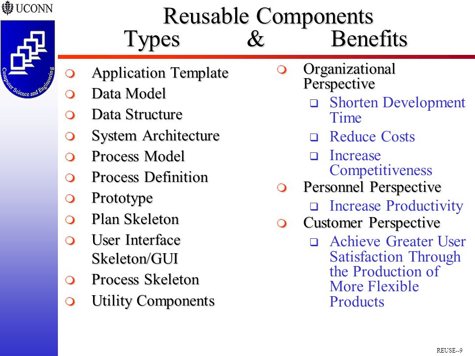 REUSE--9 Reusable Components Types & Benefits Reusable Components Types & Benefits  Application Template  Data Model  Data Structure  System Architecture  Process Model  Process Definition  Prototype  Plan Skeleton  User Interface Skeleton/GUI  Process Skeleton  Utility Components  Organizational Perspective  Shorten Development Time  Reduce Costs  Increase Competitiveness  Personnel Perspective  Increase Productivity  Customer Perspective  Achieve Greater User Satisfaction Through the Production of More Flexible Products