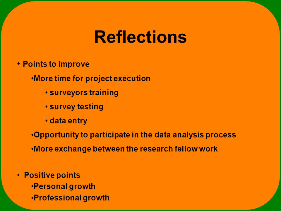 Reflections Positive points Personal growth Professional growth Points to improve More time for project execution surveyors training survey testing data entry Opportunity to participate in the data analysis process More exchange between the research fellow work