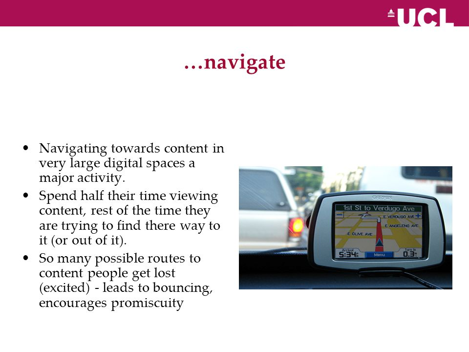 …navigate Navigating towards content in very large digital spaces a major activity.