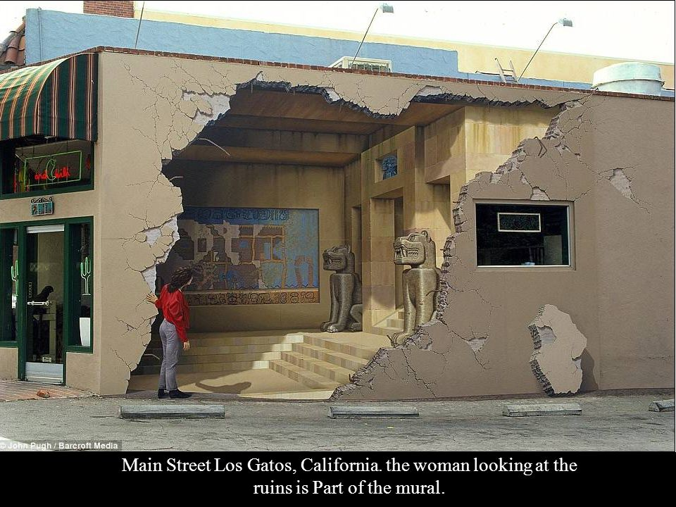 3-dimensional murals painted on walls of buildings by the artist (trick the eye) John Pugh.
