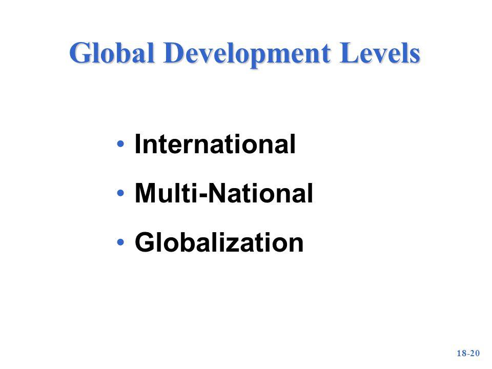 18-20 Global Development Levels International Multi-National Globalization