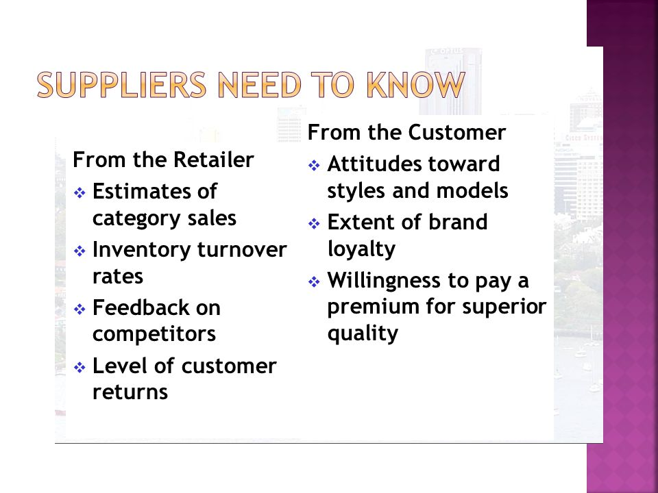 From the Supplier  Advance notice of new models and model changes  Training materials  Sales forecasts  Justifications for price changes From the Customer  Why people shop there  What they like and dislike  Where else people shop