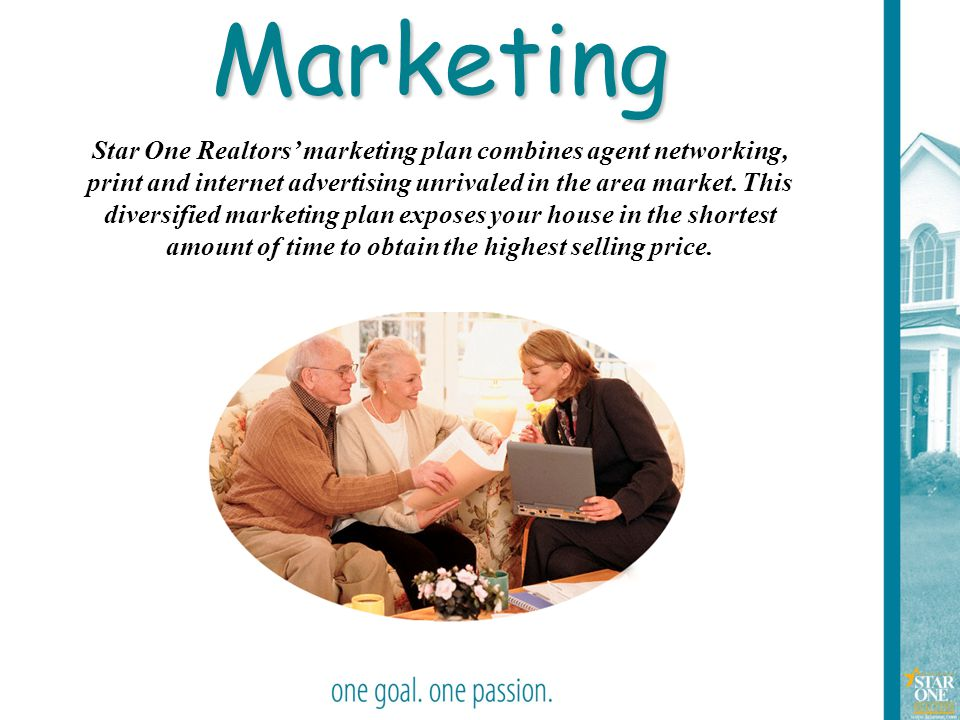19Marketing Star One Realtors' marketing plan combines agent networking, print and internet advertising unrivaled in the area market. This diversified
