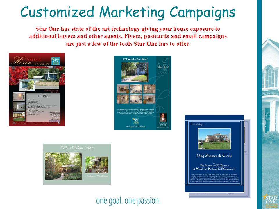 21 Customized Marketing Campaigns Star One has state of the art technology giving your house exposure to additional buyers and other agents. Flyers, p