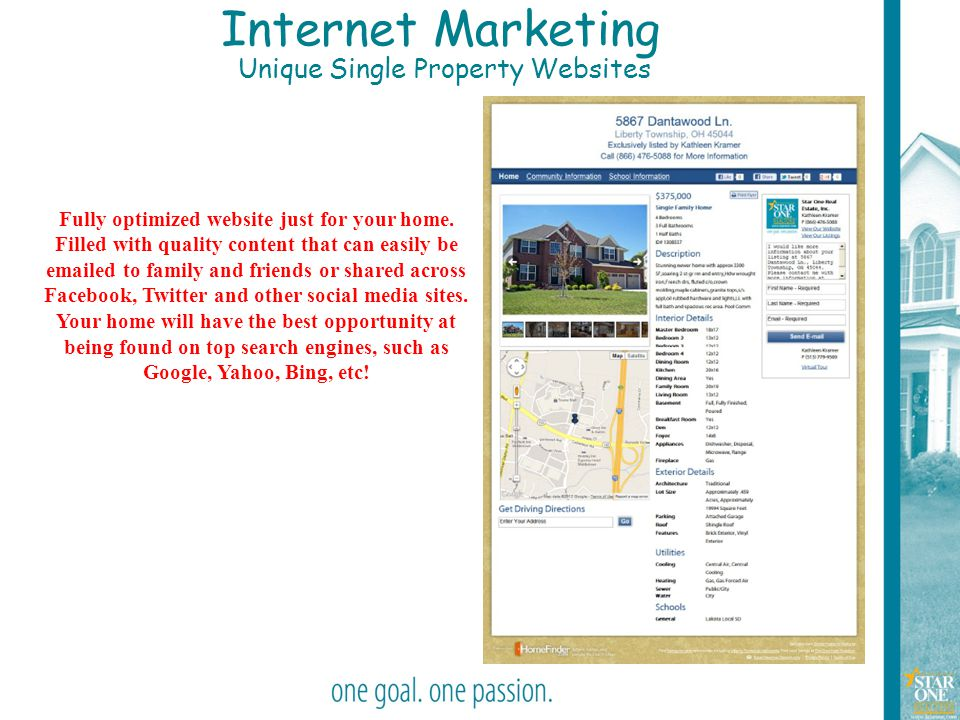 26 Internet Marketing Unique Single Property Websites Fully optimized website just for your home. Filled with quality content that can easily be email