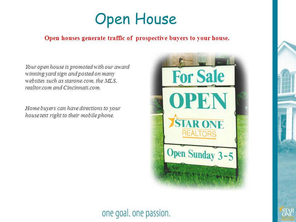 39 Open House Open houses generate traffic of prospective buyers to your house. Your open house is promoted with our award winning yard sign and poste