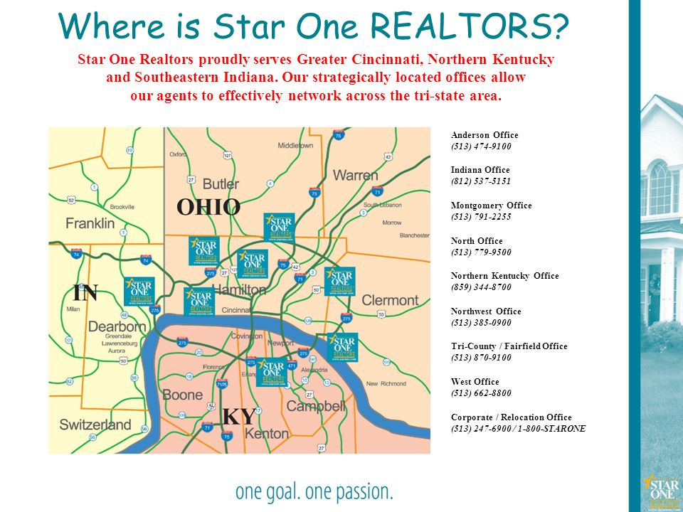 4 Where is Star One REALTORS? Anderson Office (513) 474-9100 Indiana Office (812) 537-5151 Montgomery Office (513) 791-2255 North Office (513) 779-950