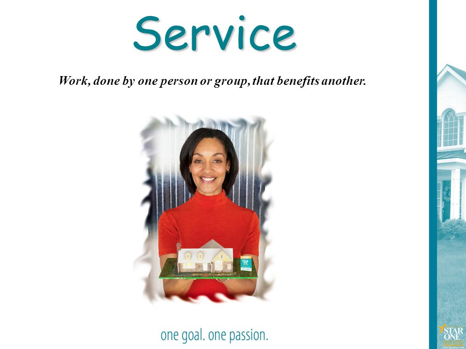 6 Work, done by one person or group, that benefits another. Service
