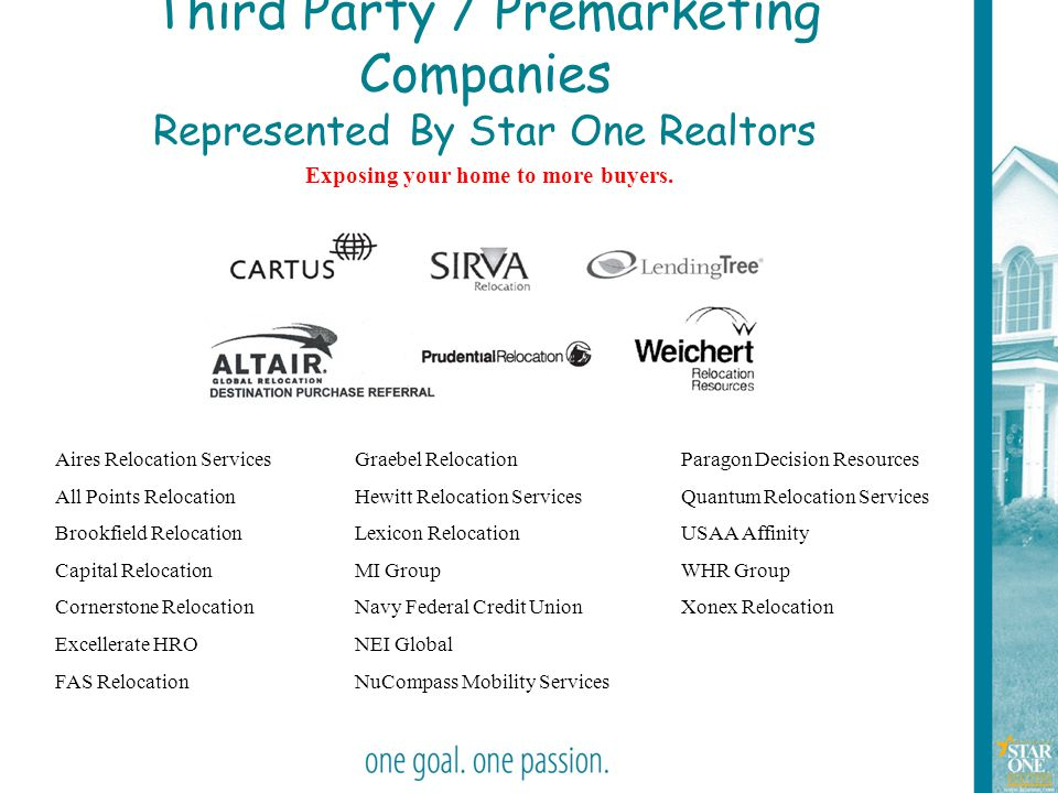 8 Third Party / Premarketing Companies Represented By Star One Realtors Exposing your home to more buyers. Aires Relocation Services All Points Reloca