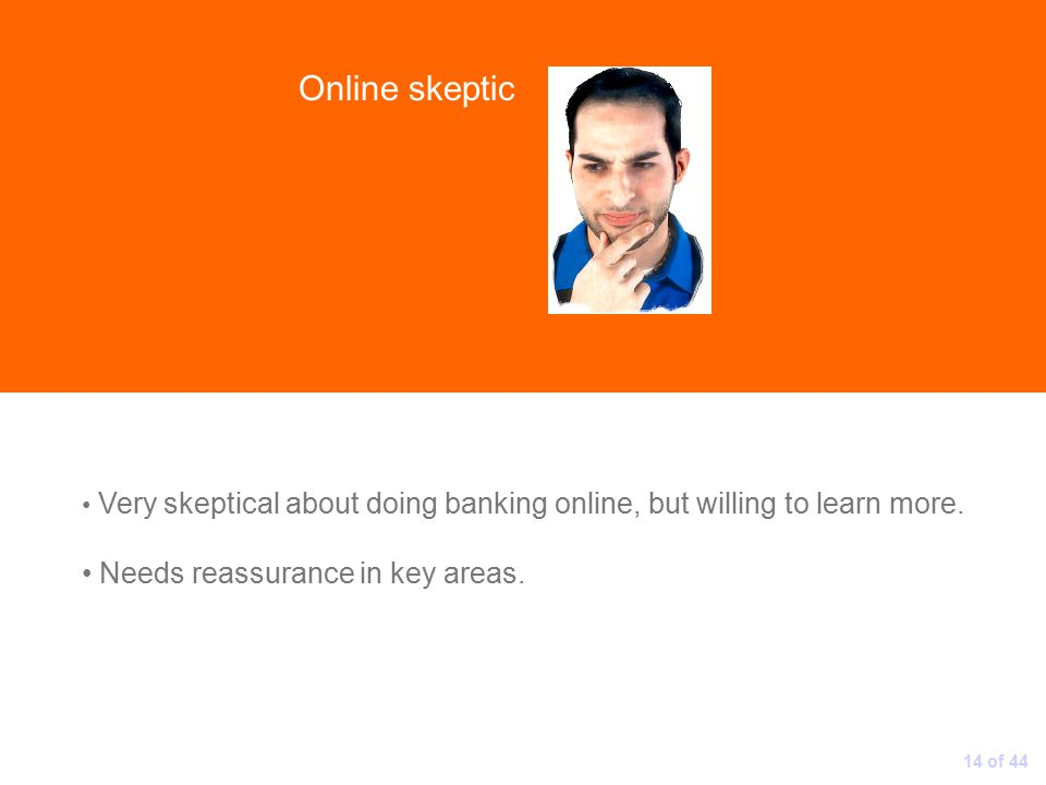 Online skeptic Very skeptical about doing banking online, but willing to learn more.