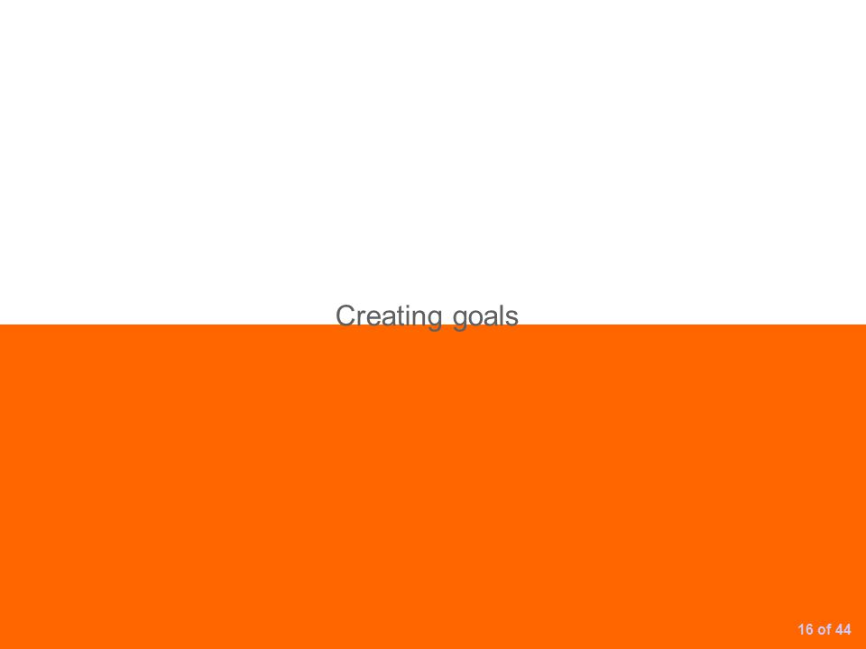 Creating goals 16 of 44