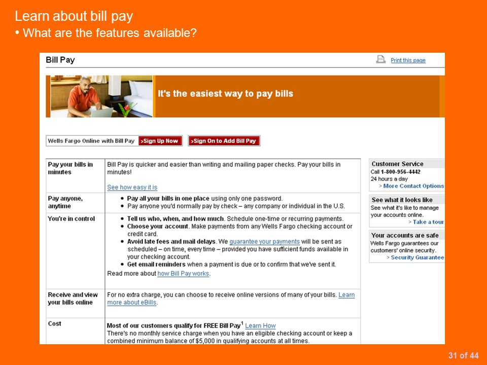 Learn about bill pay What are the features available 31 of 44