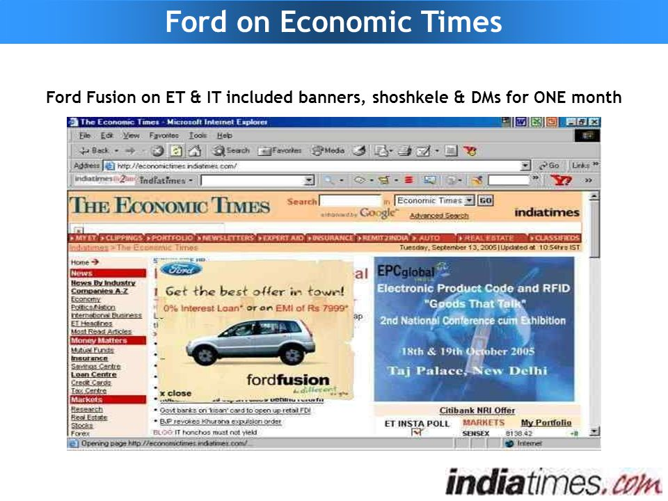 Ford Fusion on ET & IT included banners, shoshkele & DMs for ONE month Ford on Economic Times
