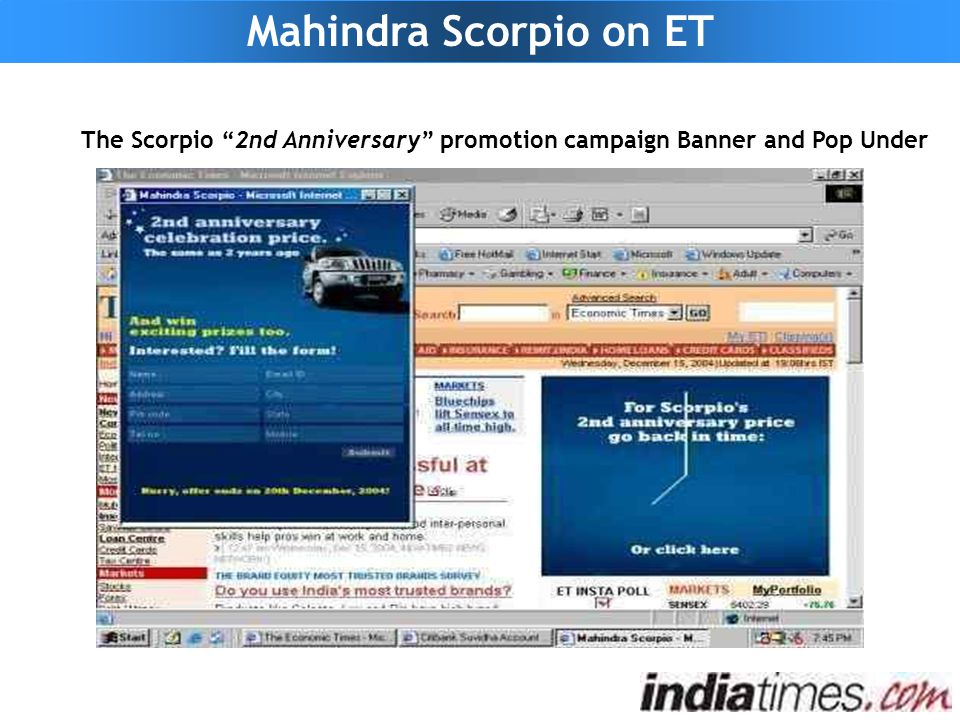 """Mahindra Scorpio on ET The Scorpio """"2nd Anniversary"""" promotion campaign Banner and Pop Under"""