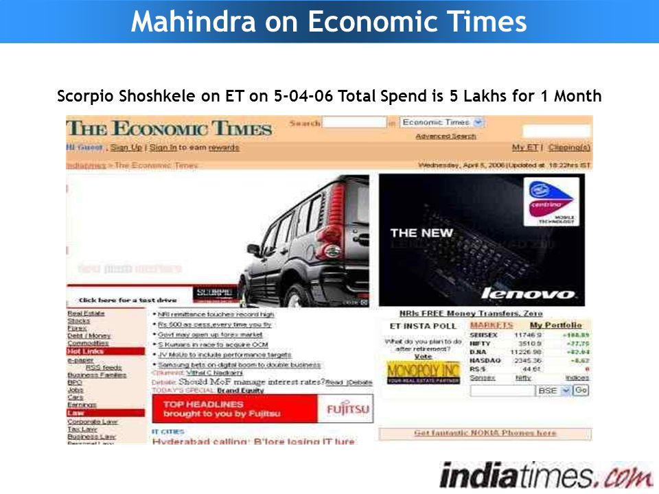 Scorpio Shoshkele on ET on 5-04-06 Total Spend is 5 Lakhs for 1 Month Mahindra on Economic Times