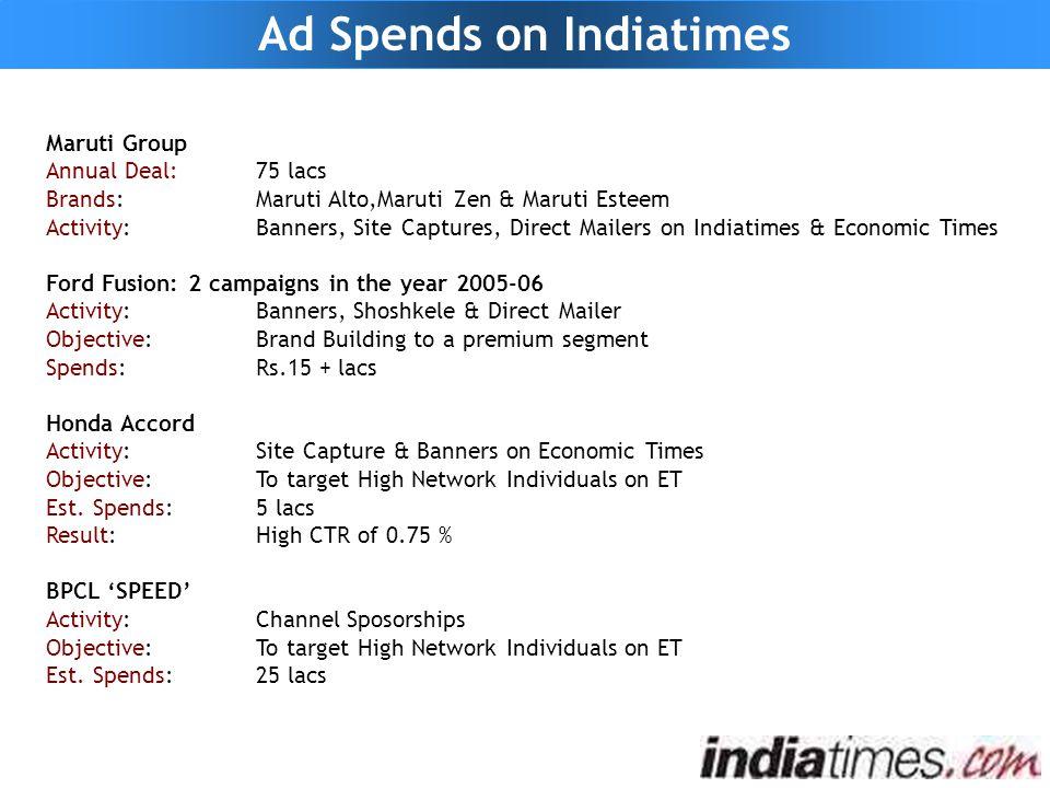Maruti Group Annual Deal:75 lacs Brands:Maruti Alto,Maruti Zen & Maruti Esteem Activity:Banners, Site Captures, Direct Mailers on Indiatimes & Economi