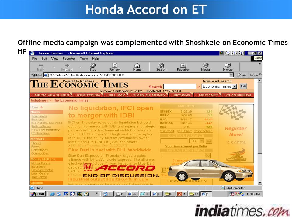 Offline media campaign was complemented with Shoshkele on Economic Times HP Honda Accord on ET