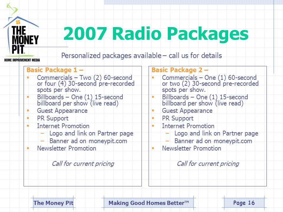 Making Good Homes Better™The Money PitPage 16 2007 Radio Packages Basic Package 1 –  Commercials – Two (2) 60-second or four (4) 30-second pre-recorded spots per show.