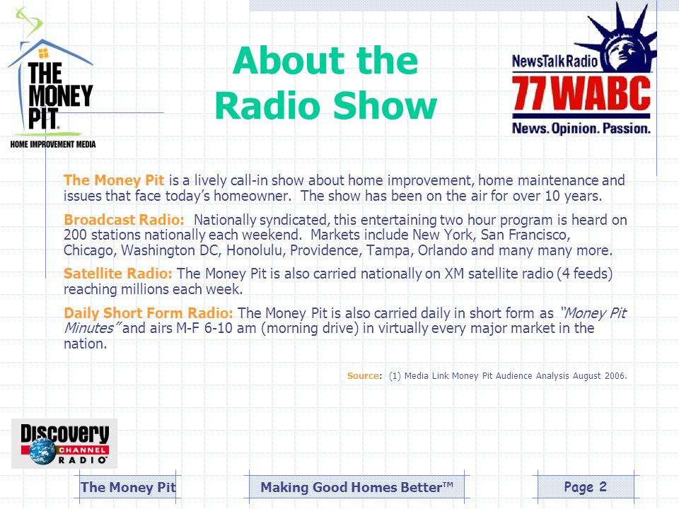 Making Good Homes Better™The Money PitPage 2 About the Radio Show The Money Pit is a lively call-in show about home improvement, home maintenance and issues that face today's homeowner.