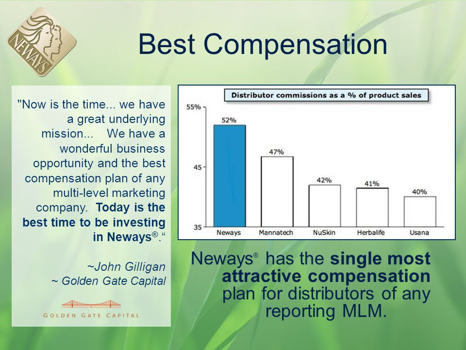 Best Compensation Neways ® has the single most attractive compensation plan for distributors of any reporting MLM.