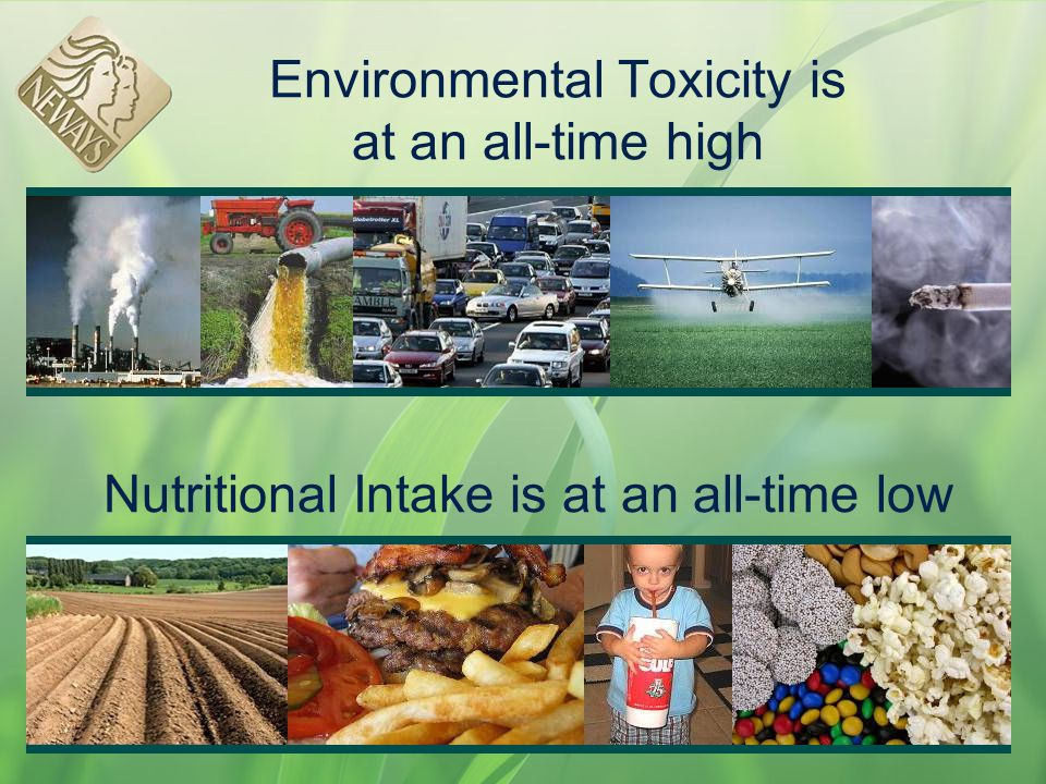 Environmental Toxicity is at an all-time high Nutritional Intake is at an all-time low