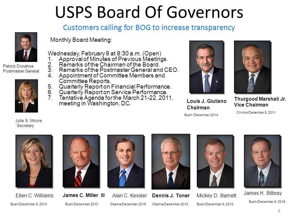 8 USPS Board Of Governors Customers calling for BOG to increase transparency Louis J.