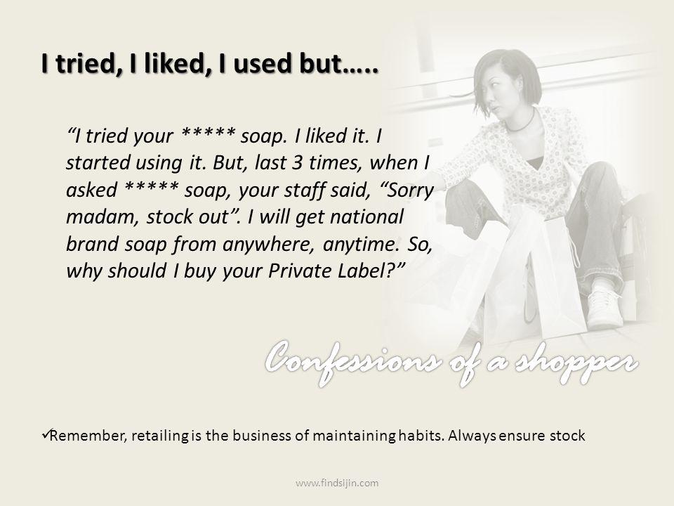 I tried, I liked, I used but….. I tried your ***** soap.