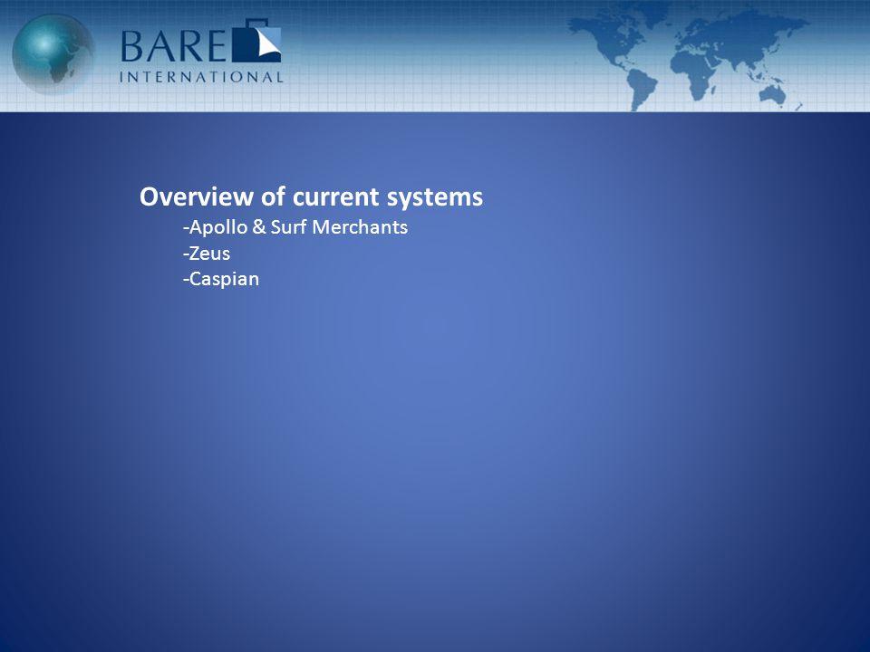 Overview of current systems -Apollo & Surf Merchants -Zeus -Caspian