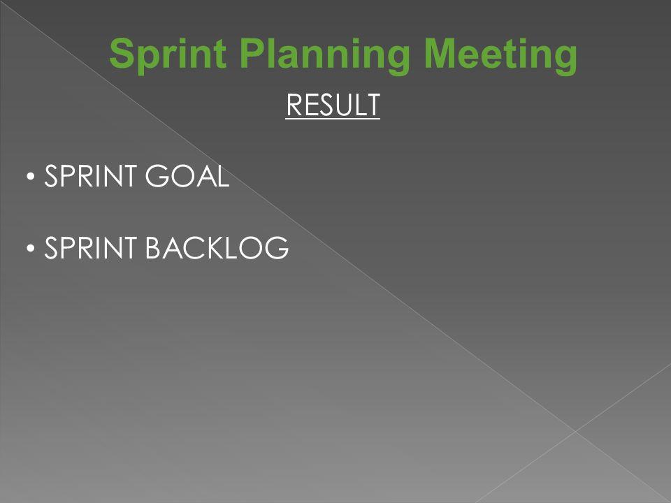 Sprint Planning Meeting RESULT SPRINT GOAL SPRINT BACKLOG