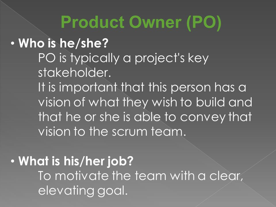 Product Owner (PO) Who is he/she. PO is typically a project s key stakeholder.
