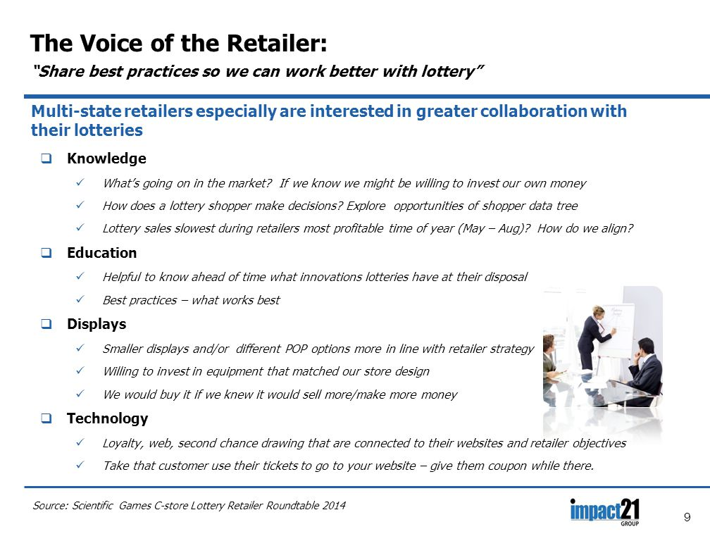 9 The Voice of the Retailer: Share best practices so we can work better with lottery Multi-state retailers especially are interested in greater collaboration with their lotteries  Knowledge What's going on in the market.