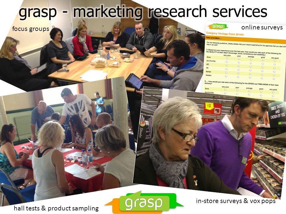 focus groups online surveys in-store surveys & vox pops hall tests & product sampling