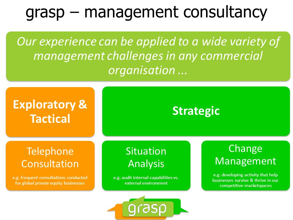 grasp – project support In addition to our own in-house, full-service research and category management consultancy, we work closely with experienced associates in all of these areas: Design – From local freelancers to structural specialists Recipe development & nutrition – Home economists Planograming – Producing retail-ready planograms In-store tasting – Hot/cold eating or just with the eyes.