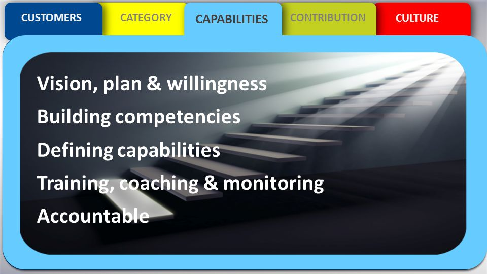 CULTURE CUSTOMERSCATEGORYCONTRIBUTION CAPABILITIES Vision, plan & willingness Building competencies Defining capabilities Training, coaching & monitor