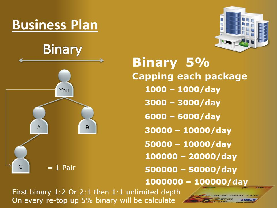 Business Plan Binary 5% Capping each package 1000 – 1000/day 3000 – 3000/day First binary 1:2 Or 2:1 then 1:1 unlimited depth On every re-top up 5% bi