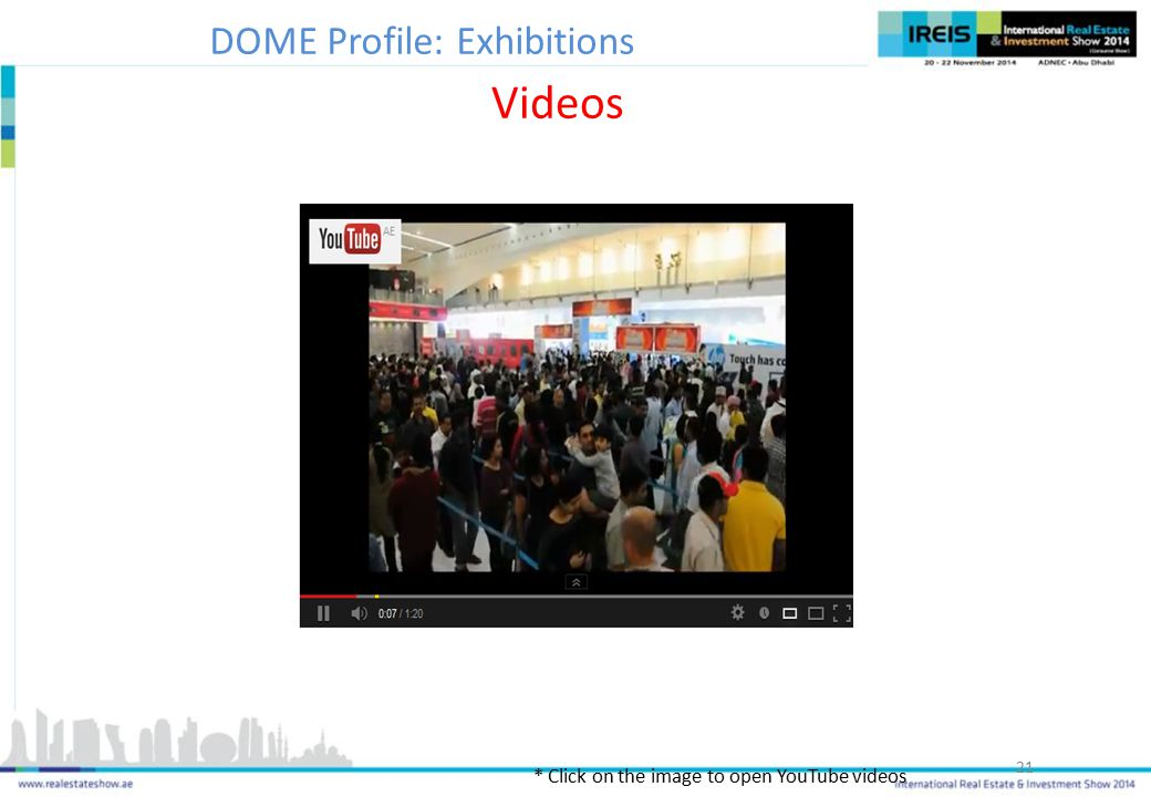 21 * Click on the image to open YouTube videos Videos DOME Profile: Exhibitions