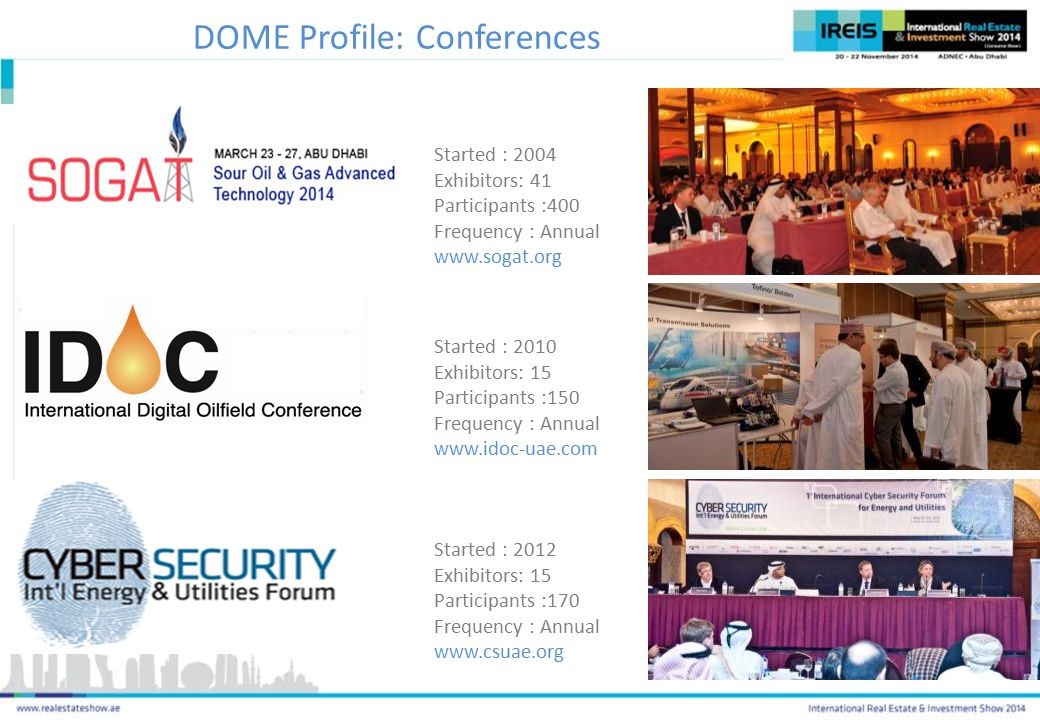 Started : 2004 Exhibitors: 41 Participants :400 Frequency : Annual www.sogat.org Started : 2010 Exhibitors: 15 Participants :150 Frequency : Annual www.idoc-uae.com Started : 2012 Exhibitors: 15 Participants :170 Frequency : Annual www.csuae.org DOME Profile: Conferences