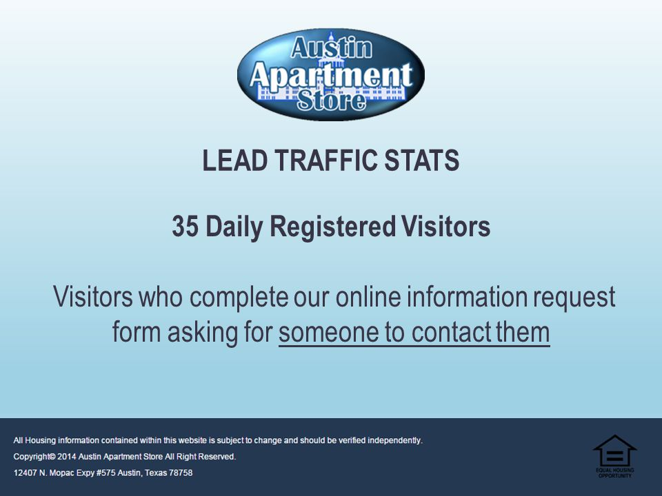 Average Monthly Visitors – 4500 Average Daily Visitors – 145 1st Time New Visitors – 70% Repeat Visitors – 30% AUSTIN APARTMENT STORE WEB TRAFFIC STATS