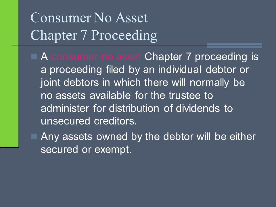 Consumer No Asset Chapter 7 Proceeding A consumer no asset Chapter 7 proceeding is a proceeding filed by an individual debtor or joint debtors in whic