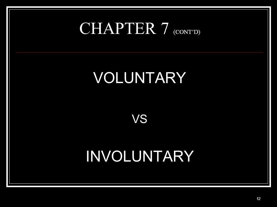 12 CHAPTER 7 (CONT'D) VOLUNTARY VS INVOLUNTARY
