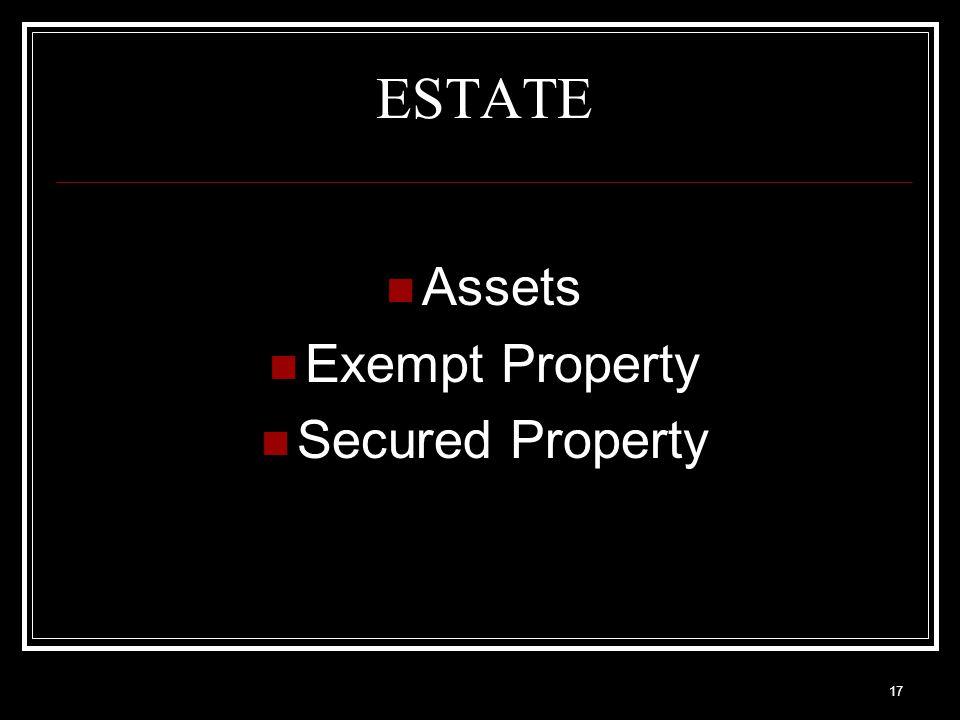 17 ESTATE Assets Exempt Property Secured Property