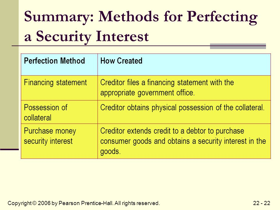 22 - 22Copyright © 2006 by Pearson Prentice-Hall. All rights reserved. Summary: Methods for Perfecting a Security Interest Perfection MethodHow Create
