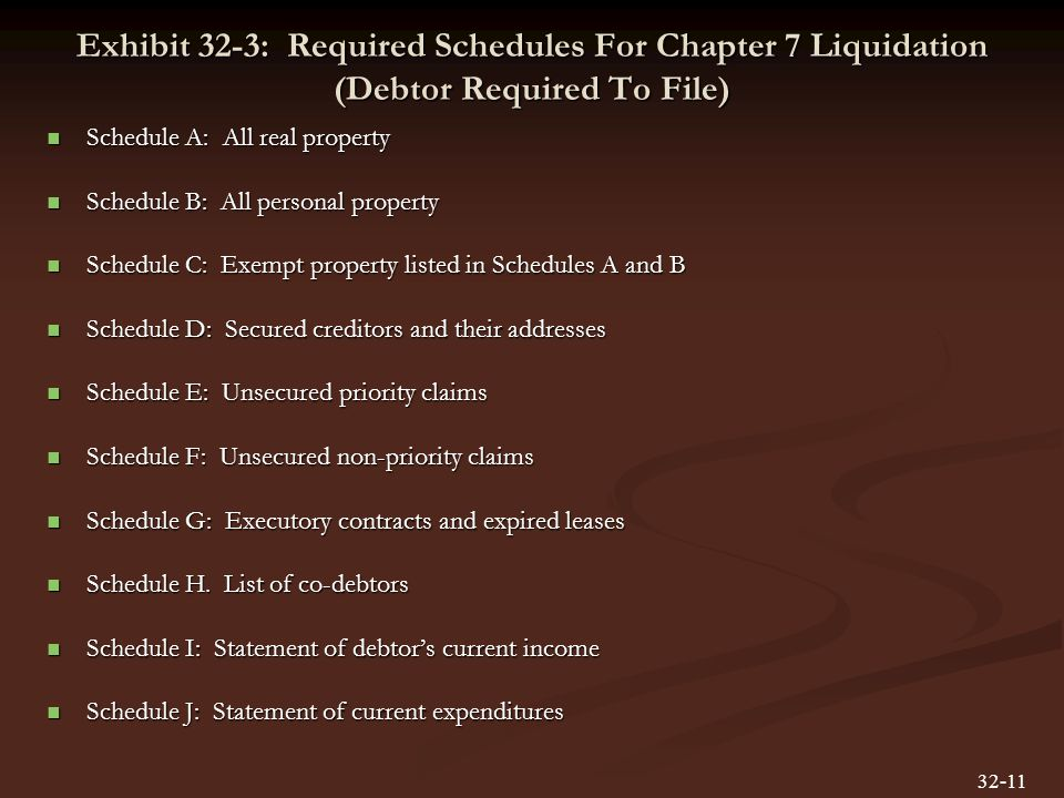 Exhibit 32-3: Required Schedules For Chapter 7 Liquidation (Debtor Required To File) Schedule A: All real property Schedule A: All real property Schedule B: All personal property Schedule B: All personal property Schedule C: Exempt property listed in Schedules A and B Schedule C: Exempt property listed in Schedules A and B Schedule D: Secured creditors and their addresses Schedule D: Secured creditors and their addresses Schedule E: Unsecured priority claims Schedule E: Unsecured priority claims Schedule F: Unsecured non-priority claims Schedule F: Unsecured non-priority claims Schedule G: Executory contracts and expired leases Schedule G: Executory contracts and expired leases Schedule H.