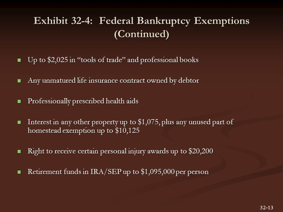 Exhibit 32-4: Federal Bankruptcy Exemptions (Continued) Up to $2,025 in tools of trade and professional books Up to $2,025 in tools of trade and professional books Any unmatured life insurance contract owned by debtor Any unmatured life insurance contract owned by debtor Professionally prescribed health aids Professionally prescribed health aids Interest in any other property up to $1,075, plus any unused part of homestead exemption up to $10,125 Interest in any other property up to $1,075, plus any unused part of homestead exemption up to $10,125 Right to receive certain personal injury awards up to $20,200 Right to receive certain personal injury awards up to $20,200 Retirement funds in IRA/SEP up to $1,095,000 per person Retirement funds in IRA/SEP up to $1,095,000 per person 32-13