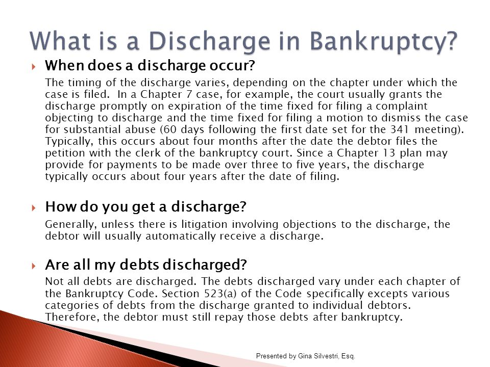  When does a discharge occur.