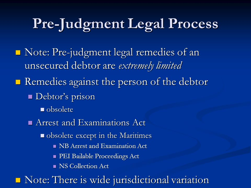 Debtor's Prison Originally a pre-judgment remedy Originally a pre-judgment remedy Common law did not allow for default judgment Common law did not allow for default judgment Debtor could avoid judgment simply by avoiding appearing in court.