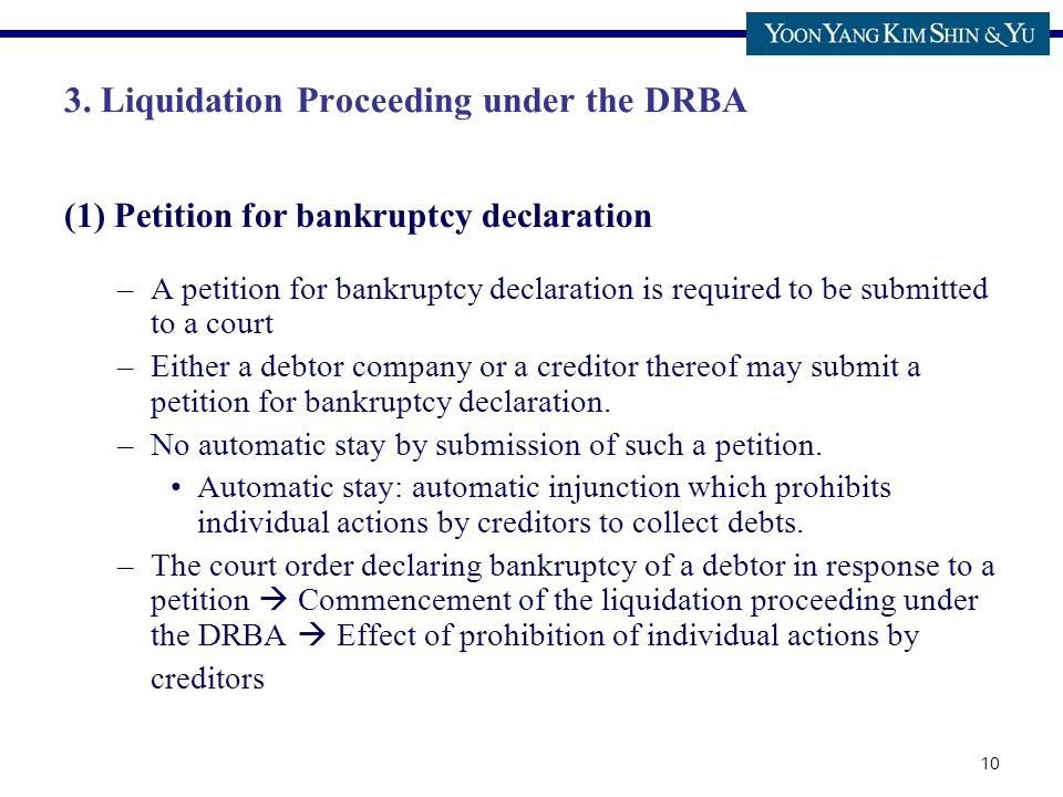 10 3. Liquidation Proceeding under the DRBA (1) Petition for bankruptcy declaration –A petition for bankruptcy declaration is required to be submitted